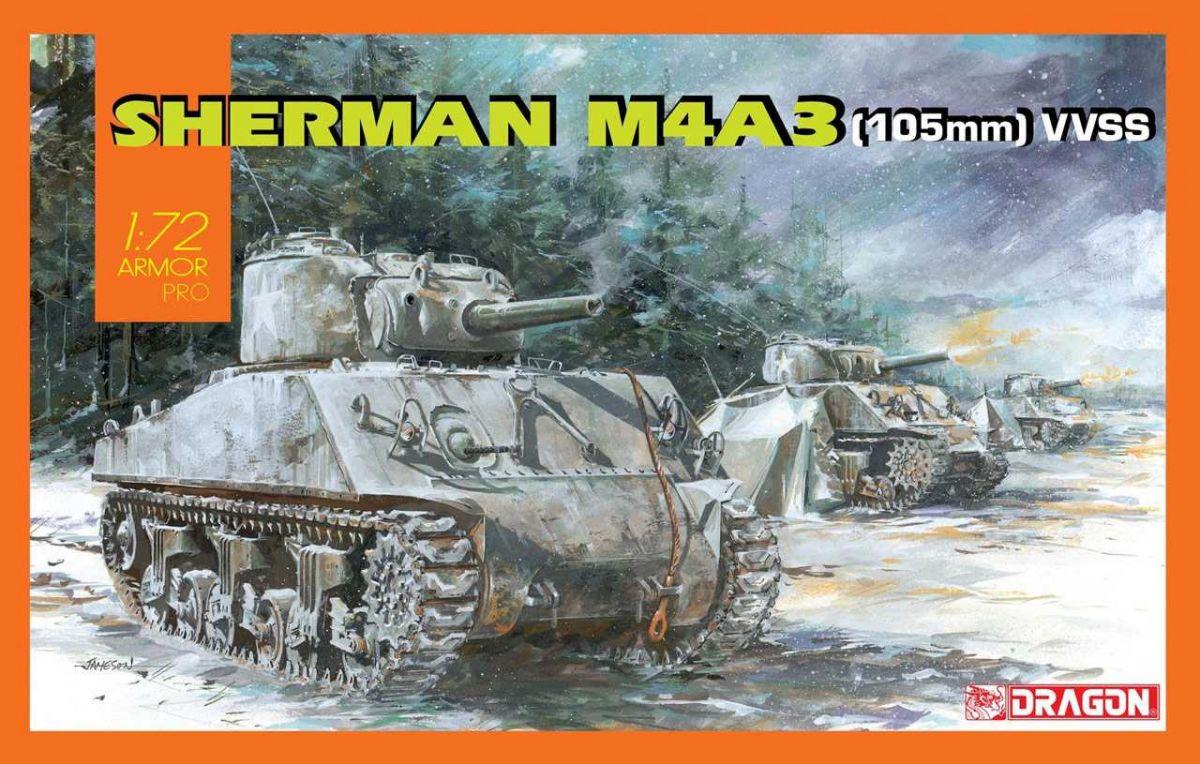 Model Kit tank 7569 - Sherman M4A3 (105mm) VVSS (1:72) Dragon
